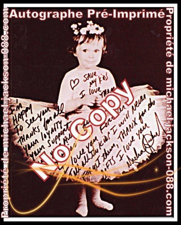 Unique Pré-Imprimé d'un Autographe de Michael Jackson sur une photo d'enfant !!!