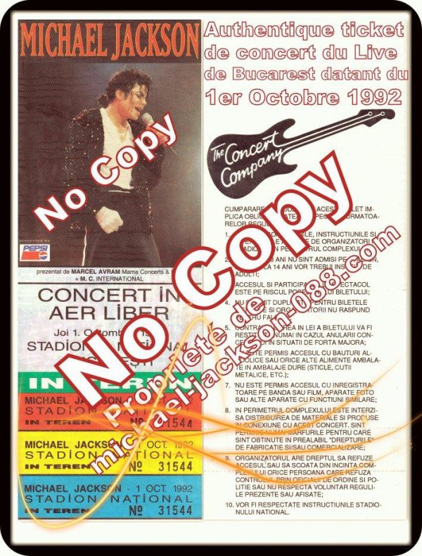 Authentique Poster Promo + Authentique Ticket de Concert du Live de Bucarest du 1er octobre 1992 !!!