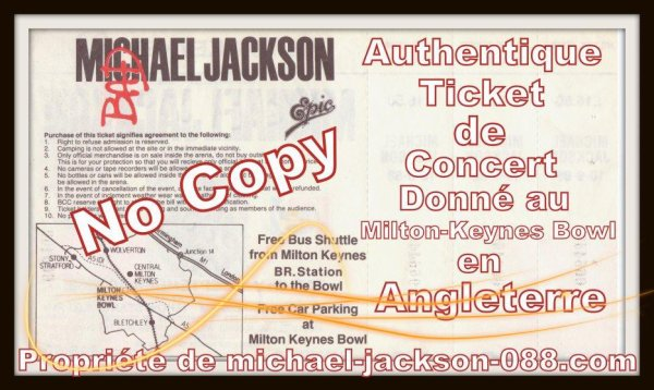 "Authentique Ticket de Concert du Live de "" Milton Keynes "" en Angleterre lors du Bad-Tour le 10 Septembre 1988 !!!"