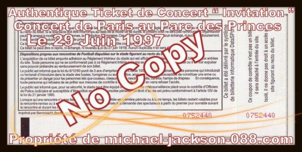 Authentiques Tickets de Concert du Live de Paris et de Nice datant de1997 !!!!