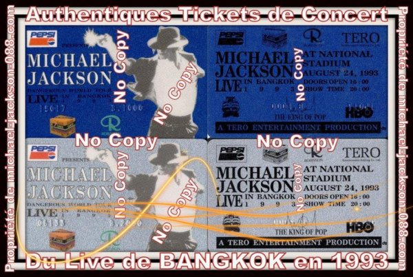 Authentiques Tickets de Concert du Live de BANGKOK en 1993 !!!