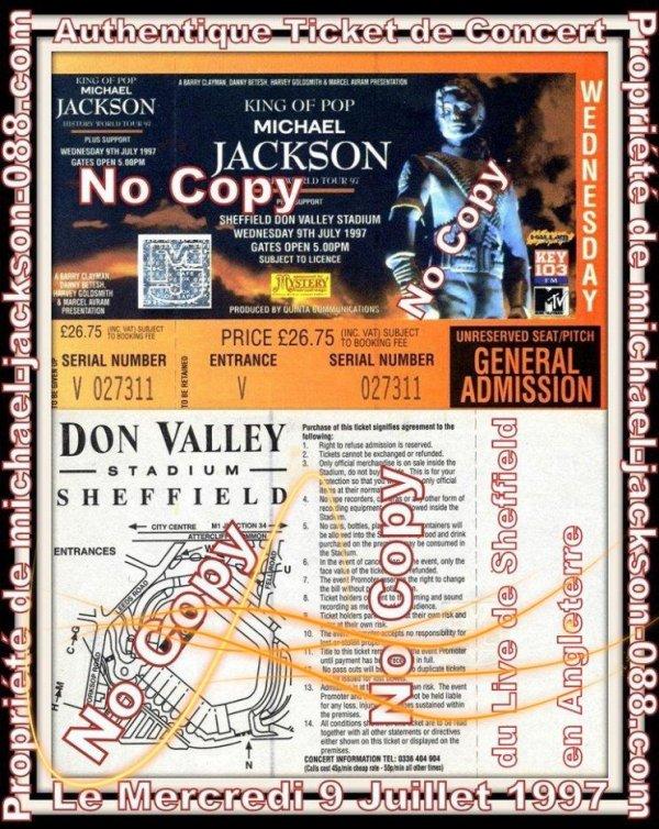 Authentique Ticket de Concert du Live de Sheffield en Angleterre le Mercredi 9 Juillet 1997 :