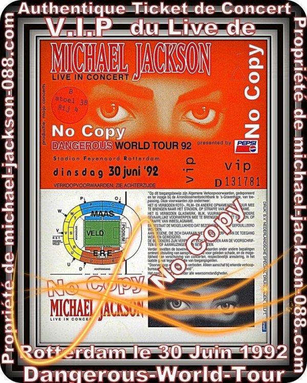 """Authnetique Ticket de Concert V.I.P du live de Rotterdam """" Dangerous-Tour """" ."""