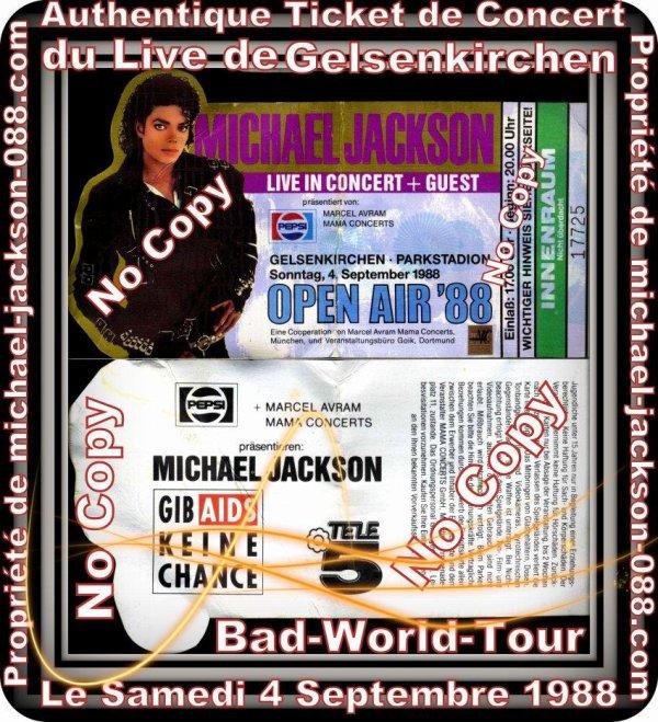 """Authentique Ticket de Concert du Live de """" GELSENKIRCHEN """" le Samedi 4 Septembre 1988 lors du Bad-World-Tour !!!"""