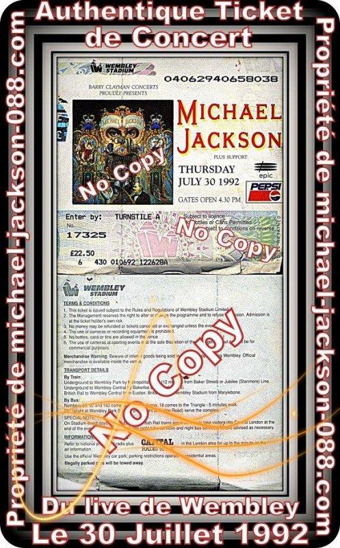 Authentique Ticket de Concert du live de Wembley le 30 Juillet 1992 !!!