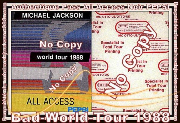 """Authentiques PASS All-Acces du Bad-World-Tour 1988 """" Doré et Noir """" !!!"""