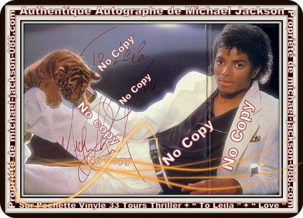 """Authentique Autographe Dédicacé par Michael Jackson avec écrit : """" To Leila """" & """" Love """" en 1988 !!!"""