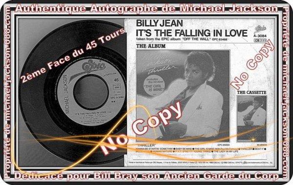 """Autographe dédicacé par Michael Jackson """" To Bill """" ( Bill Bray son ancien Garde du Corps en 1988 ) !!! :"""