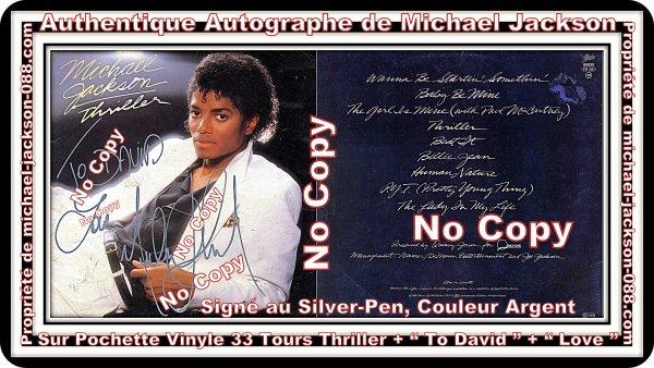 Magnifique et Authentique 33 Tours de Thriller Dédicacé par Michael Jackson au Silver-Pen !!! :