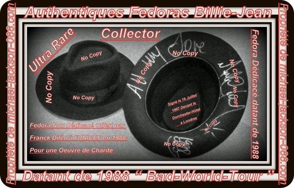 Magnifique et Authentique Fedora Billie-Jean datant de 1988 Dédicacé le 16 Juillet 1997 devant le Dorchester-Hôtel à Londres + Photos BONUS !!!