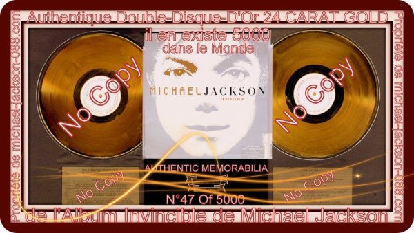 Authentique Double Disque D'Or de l'Album Invincible de Michael Jackson !!!