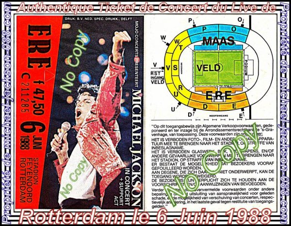 """Authentique Ticket de Concert du Live de Rotterdam le 6 Juin 1988 au """" Stadion Feyenoord """" + Authentique Enveloppe du """" Bad-World-Tour """" 1988 !!! :"""