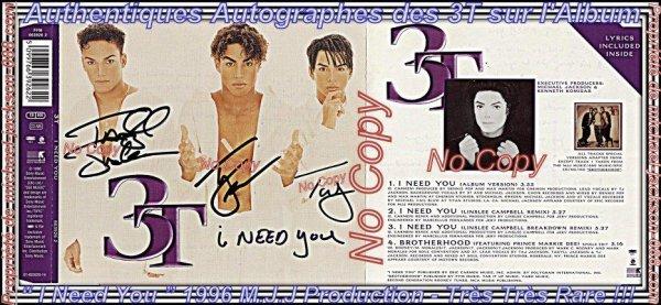 """Authentiques Autographes des """" 3T """" Les Neveux de Michael Jackson sur l'Album """" I Need You """" !!!"""