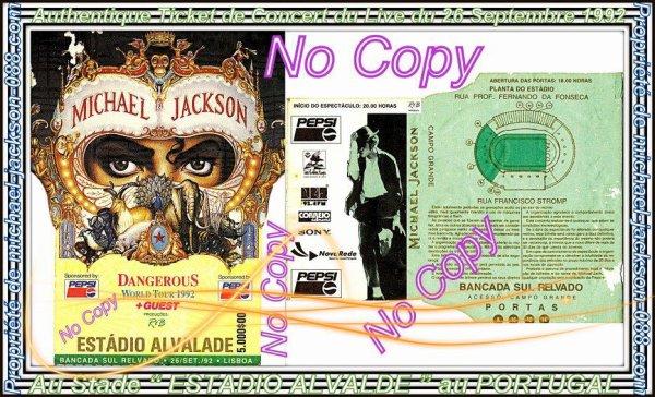 """Authentique Ticket de Concert du Live du 26 Septembre 1992 au stade """" Estadio Alvalde """" au Portugal !!!"""