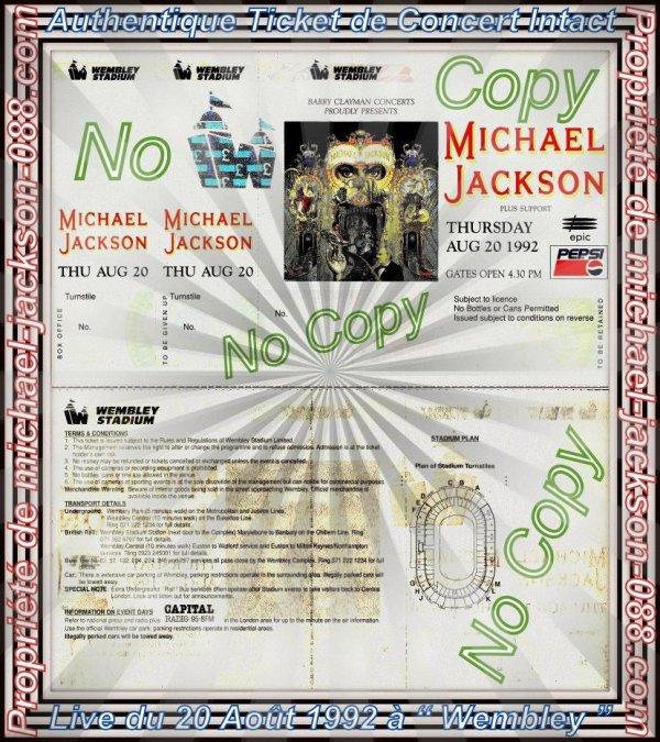 """Authentique Ticket de Concert Intact du Live de """" WEMBLEY """" le 20 Août 1992 lors du Dangerous-World-Tour !!!"""
