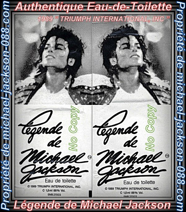 "Authentique Eau de Toilette "" Légende Michael Jackson "" TRIUMPH INTERNATIONAL, INC 1989 !!!"
