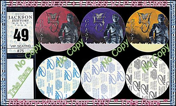 "3 Authentiques "" PASS GUEST "" + 1 Authentique "" PASS V.I.P SEATING "" History-World-Tour !!!"
