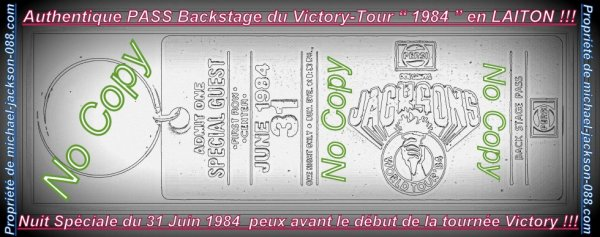 "Magnifique et Authentique PASS Backstage USA 1984 Victory-Tour "" One Night Only "" !!!"
