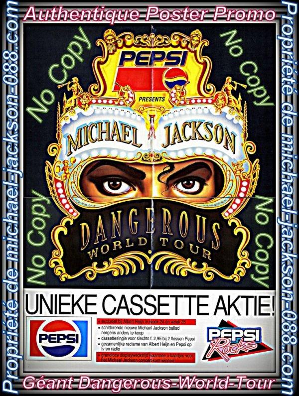 Authentique Poster-Promo Géant Dangerous-World-Tour + Mini Cassette Dangerous encore sous Plastique !!!