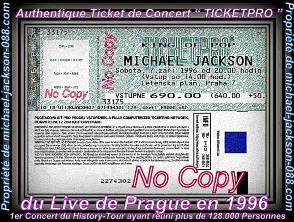 "Authentique Ticket de Concert "" TICKETPRO "" + Flyer Promo du Live de Prague le 7 Avril 1996 !!! :"