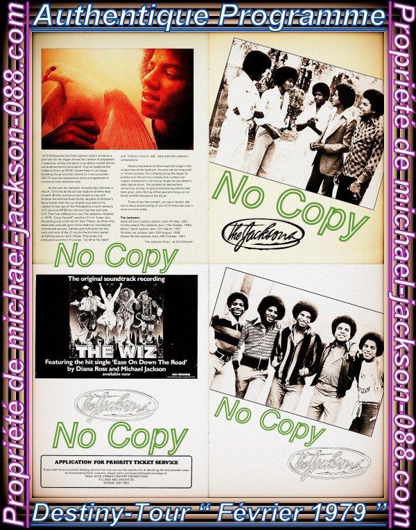 """Authentique Programme """" Destiny-Tour """" The Jackson's ( Février 1979 ) en Parfait état !!! :"""