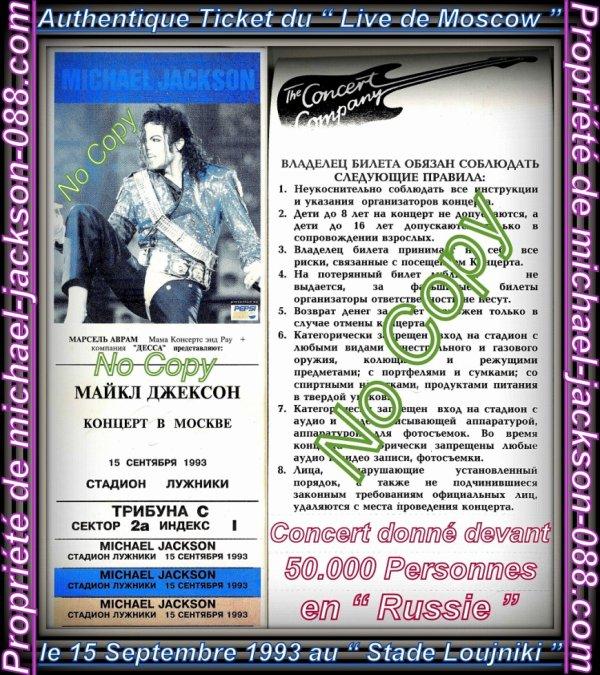 """Authentique Ticket de Concert Intact du Live de """" Moscow """" en Russie le 15 Septembre 1993 !!! :"""