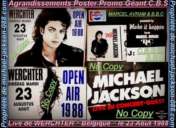"""Ticket de Concert Intact + Poster Promo Géant """" C.B.S """" du Live de """" WERCHTER """" en Belgique le Mardi 23 Août 1988 !!! :"""