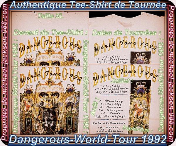 """Authentique Plaquette de 6 Tickets de Concerts Intacts + Tee-Shirt Tournée """" DANGEROUS """" 1992 !!! :"""