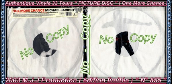 "Authentique Vinyle 33 Tours "" PICTURE DISC "" ( One More Chance ) "" édition Limitée "" N° 855 !!! :"