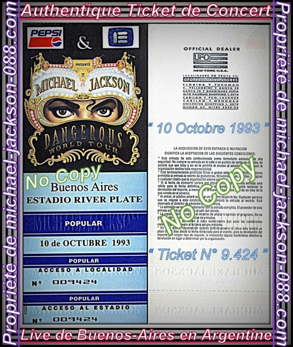 Authentiques Tickets de Concerts des 3 Lives de Buenos-Aires en Argentine les 8 - 10 & 11 Octobre 1993 !!! :