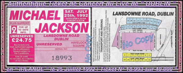 "Ticket de Concert Live de "" DUBLIN "" 25 Juillet 1992 Dangerous-World-Tour !!!"