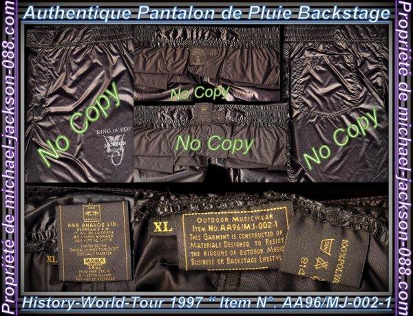 """Authentique Veste et Pantalon de Pluie Backstage """" History-World-Tour 1997 """" Size """" XL """" !!! :"""