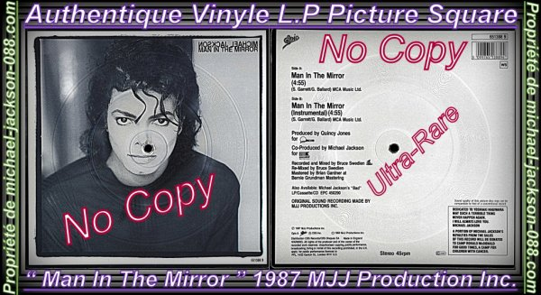 "Authentique Vinyle LP Picture Square "" Man In The Mirror "" + Photos Bonus !! :"
