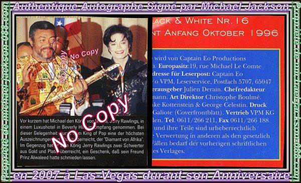 2 Authentique Autographes Signés par Michael Jackson à Las-Vegas en 2007 durant son Anniversaire !!! :