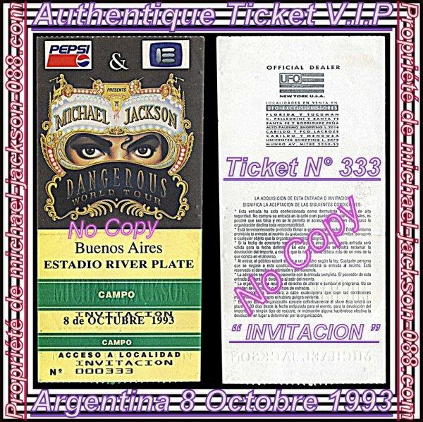 "Authentiques Tickets "" V.I.P INVITACION "" 8 Octobre 1993 Buenos-Aires ARGENTINE !!! :"