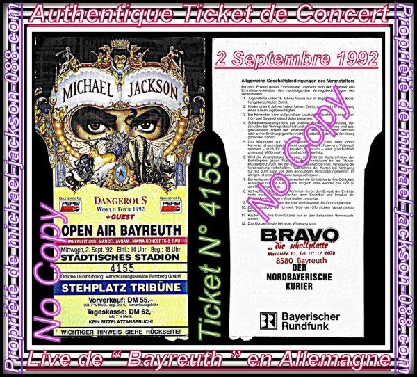 """Authentique Ticket Concert """" Live du 2 Septembre 1992 """" à BAYREUTH en Allemagne !!! :"""