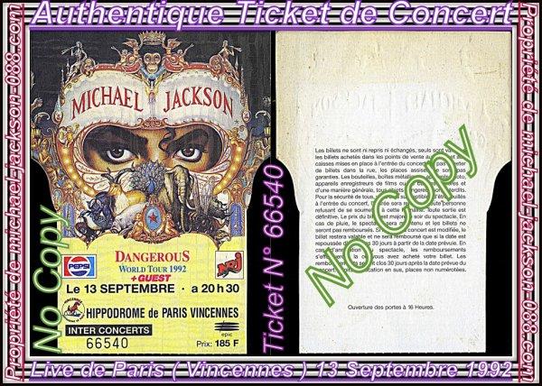 """Authentiques Tickets de Concerts Français """" Paris """" & """" Toulouse """" 13 & 16 Septembre 1992 !!! :"""