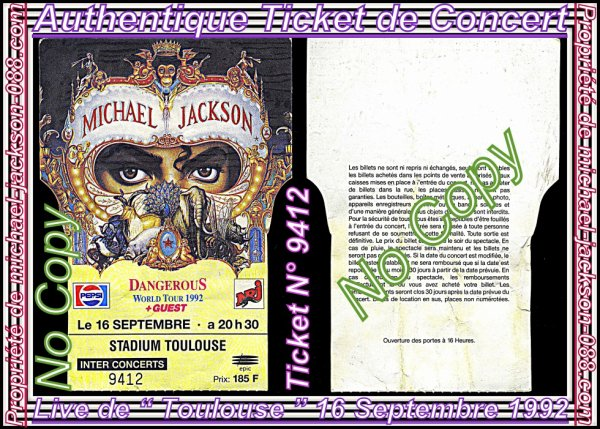 "Authentiques Tickets de Concerts Français "" Paris "" & "" Toulouse "" 13 & 16 Septembre 1992 !!! :"