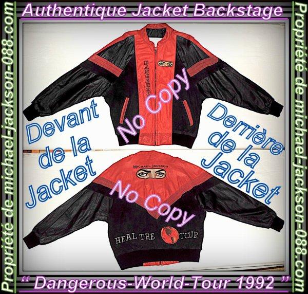 """Magnifique & Authentique Jacket Backstage en Cuir du """" Dangerous-World-Tour 1992 """" !!! :"""