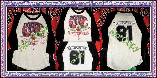 """Magnifique & Authentique Tee-Shirt des Jackson's """" Triumph-Tour 1981 """" vendu aux Fans :"""