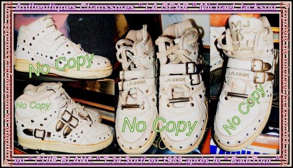 """Magnifiques & Authentiques Chaussures """" LA GEAR """" Michael Jackson en """" Cuir Blanc """" T.34 !!! :"""