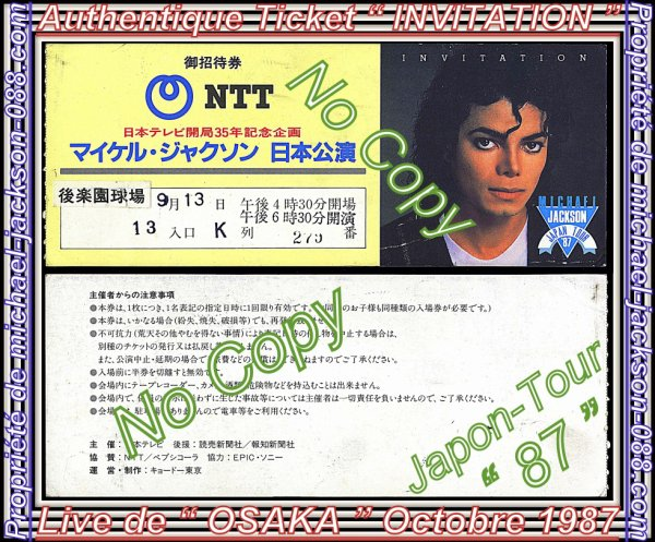 "Authentique Ticket "" INVITATION "" + Programme Japon-Tour 1987 "" OSAKA "" Octobre 1987 ^^ :"
