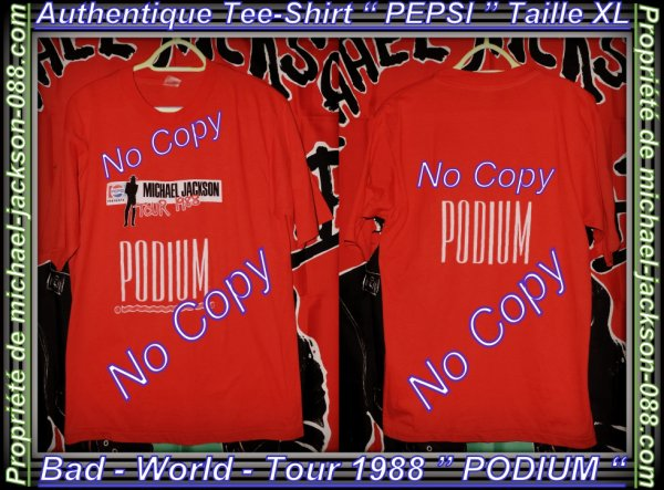 "Authentiques Tee-Shirt "" Bad-World-Tour "" 1988 Michael Jackson :"