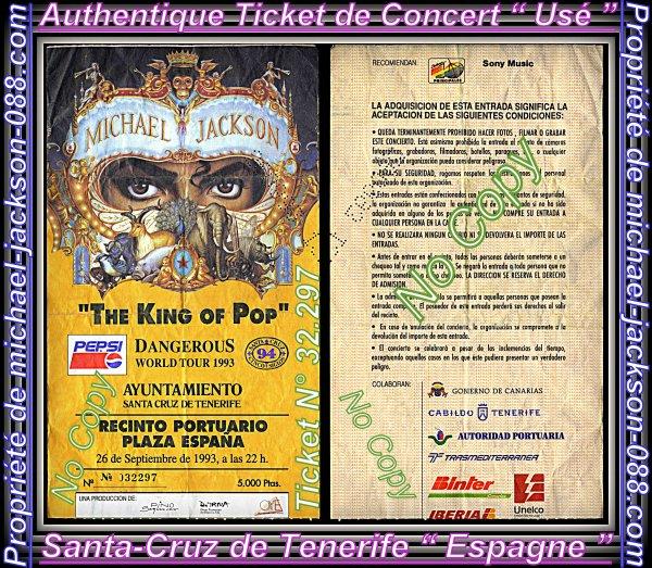 """Authentique Ticket """" usé """" du Live de Santa-Cruz de Tenerife en Espagne le 26 Septembre 1993 :"""