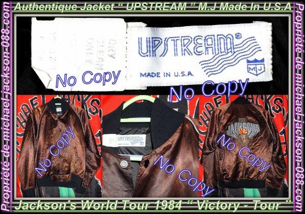 """Magnifique & Authentique Jacket """" UPSTREAM M.J """" Marron ( Victory-World-Tour 1984 ) :"""