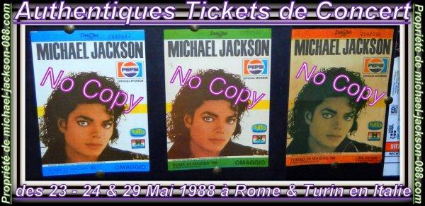 """Magnifiques & Authentiques Tickets de Concert des """" 23 - 24 & 29 Mai 1988 """" à Rome & Turin en Italie :"""