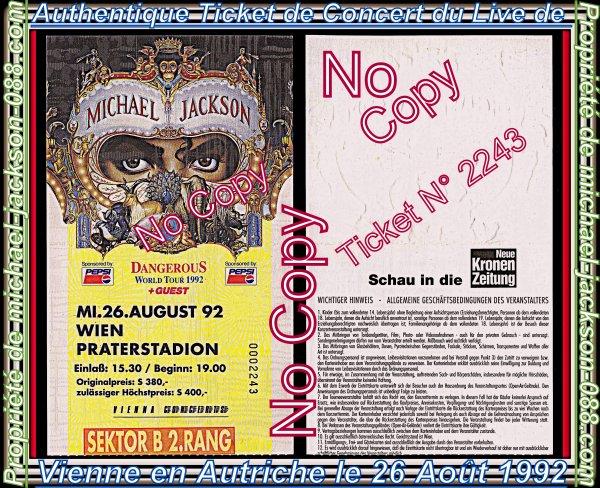 """Magnifique & Authentique Ticket de Concert du Live de Vienne """" 26 Août 1992 """" :"""