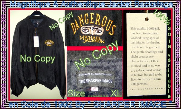 Magnifique & Authentique Jacket Backstage 100% Soie du Dangerous-World-Tour 1992 By The Sharper Image :