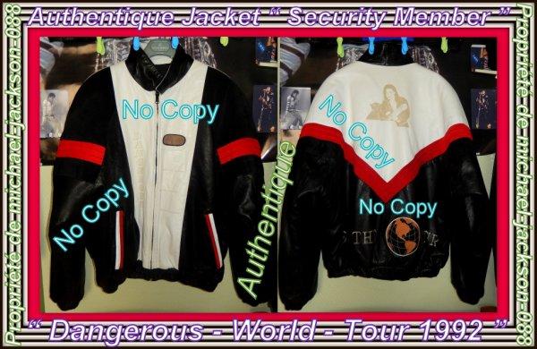 """Magnifique & Authentique Jacket """" Security-Member """" Du Dangerous-World-Tour 1992 en Parfait état & Jamais Portée:"""