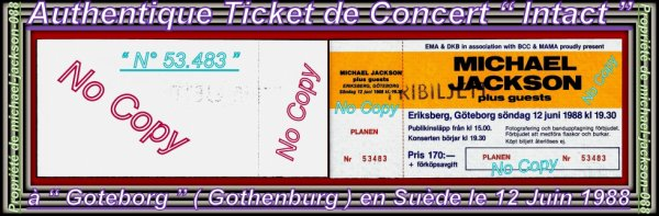 "Authentique Ticket de Concert "" Intact "" du Live de Gothenburg en Suède le "" 12 Juin 1988 "" :-)"